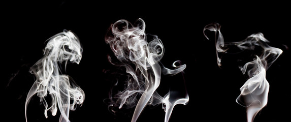 White smoke colection, isolated on black background.
