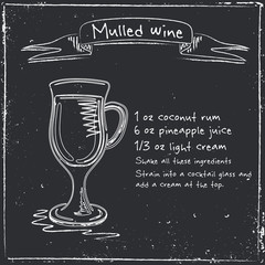 Mulled wine. Hand drawn illustration