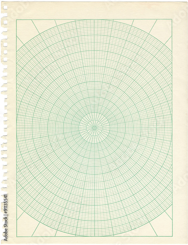 Old Discolored Polar Graph Paper Stock Photo And RoyaltyFree