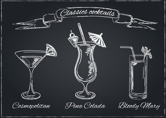 Cocktails collection. Vector Set