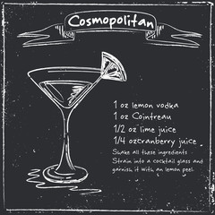 Cosmopolitan. Hand drawn illustration of cocktail.