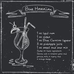 Blue Hawaiian. Hand drawn illustration of cocktai.