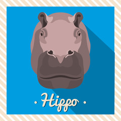 Vector portrait of a hippopotamus, hippo. Symmetrical portraits of animals. Vector Illustration, greeting card, poster. Icon. Animal face. Font inscription. Image of a hippopotamus's face.