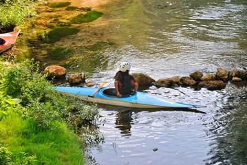 Kayak sul fiume Aniene presso Subiaco - Roma - Lazio - Italia