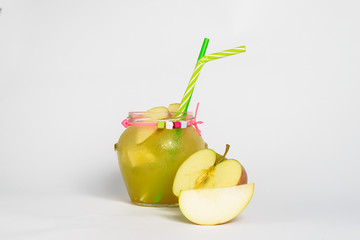 Apple fresh with ice and straw with fruits