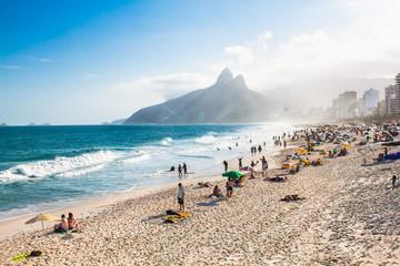 Two Brothers Mountain and Ipanema beach, Rio de Janeiro. Brazil.