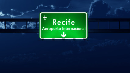 Recife Brazil Airport Highway Road Sign at Night