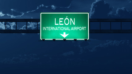 Leon Mexico Airport Highway Road Sign at Night