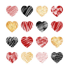 Wall Mural - Vector hand drawn heart icons for valentines and wedding