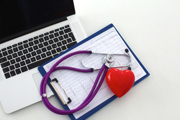Doctor office,Top view, laptop form stethoscope and heart