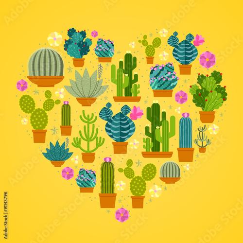 Wall mural I love cactuses logo