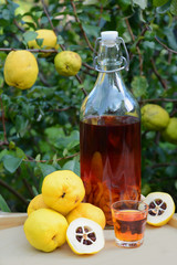 Tincture of quince and fruit on a wooden table.