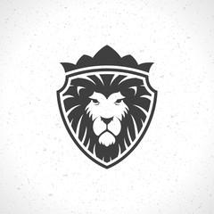 Lion face logo emblem template for business or t-shirt design