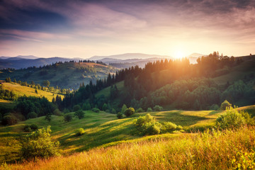Wall Mural - Summer sunset in mountains