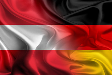 German and Austrian Flags Waving Together