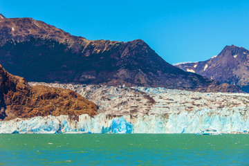 Massive glacier and ice-floes