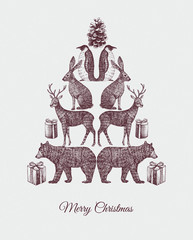 Christmas tree. Hand drawn animal mirror print