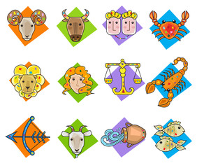 Zodiac Signs - Vector set of twelve colorful zodiac signs. Eps10