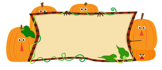 Pumpkins Banner - Cute illustration of cartoon pumpkins holding a banner. Eps10