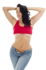 Attractive Young Hispanic Woman Posing Pin Up In Jeans and a Red