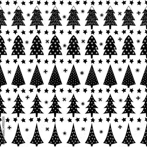 forest background illustration simple seamless christmas pattern xmas trees stars snowflakes
