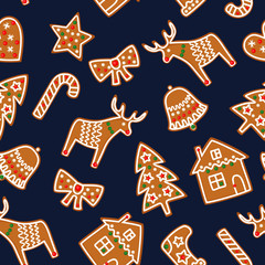 Cute Seamless pattern with Christmas gingerbread cookies - xmas tree, candy cane, bell, sock, star, house, bow, heart, deer. Cute winter holiday background. Vector design gingerbread background.