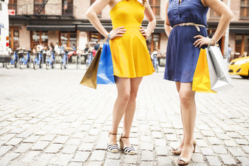 Two women outdoors, hands on hips with shopping bags. Yellow and blue.