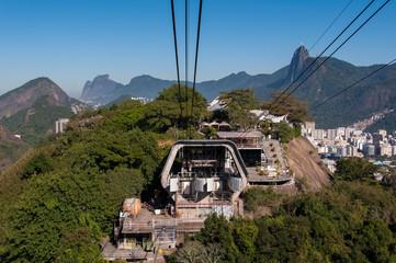 Urca Mountain with Cable Car Station in Rio de Janeiro