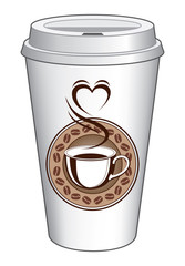 Coffee To Go Cup Design With Steaming Heart is an illustration of a coffee design on a to go cup. Includes a cup of coffee with steam coming off of it making the shape of a heart.