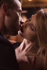 Sensual couple kissing passionately