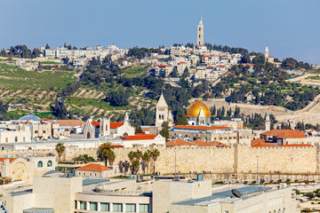 Aerial View of Jerusalem before Sunset