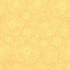 Light yellow vintage flowers vector
