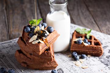 Chocolate waffles with milk