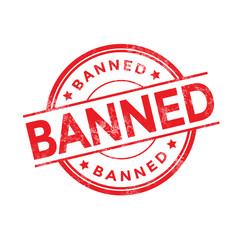 Banned red round grunge stamp on white
