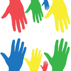 Colorful hands of different sizes on a white background