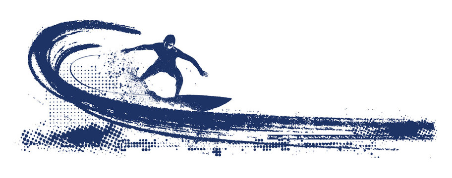 grunge surf scene with pipeline wave and rider