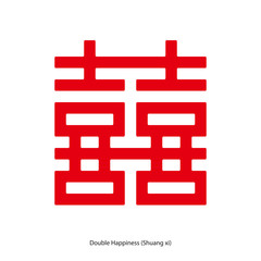 Chinese character double happiness in square shape. Chinese traditional ornament design, commonly used as a decoration and symbol of marriage.
