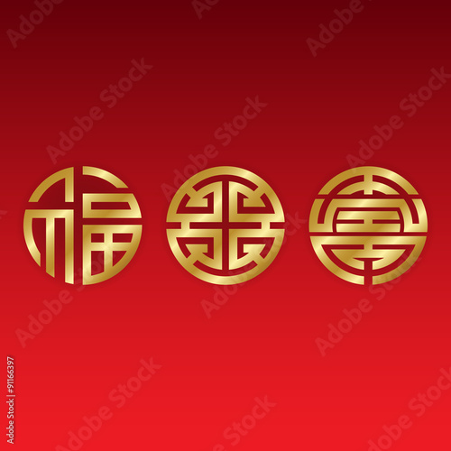 Golden Chinese Good Luck Symbols Blessings Prosperity And