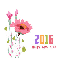 Happy new year 2016. Painted watercolor card with poppy