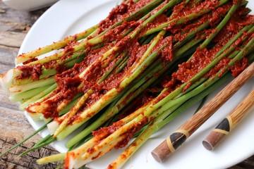 Green onion kimchi korean food