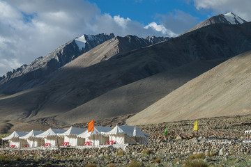 Tents for tourist with  mountain range background