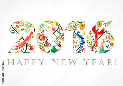 2016 new year folk card happy holidays card with ethnic patterns 2016 new year folk card happy holidays card with ethnic patterns and birds of paradise m4hsunfo