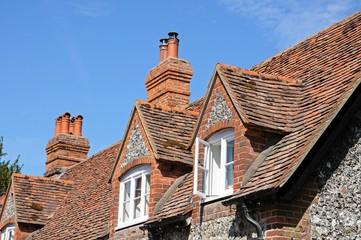 Flint and brick cottages, Hambledon.