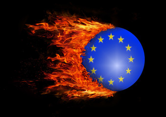 Flag with a trail of fire - European Union