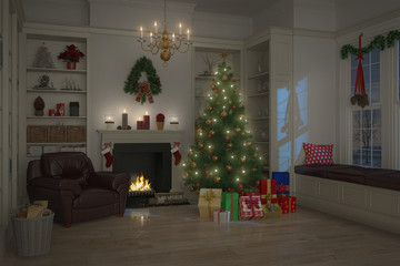 weihnachtlich dekoriertes Wohnzimmer
