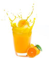 splashing orange juice with oranges against white background
