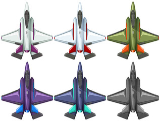 Six different designs of fighting jet