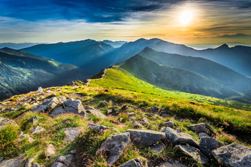 Wonderful sunset in mountains in summer