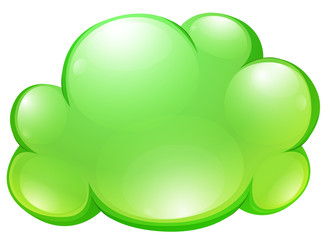 Green fluffy cloud on white