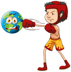 Man punching the earth